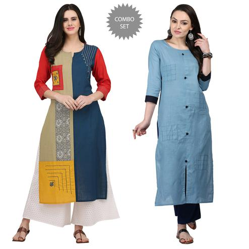 Appealing Casual Printed Cotton Kurti - Pack of 2