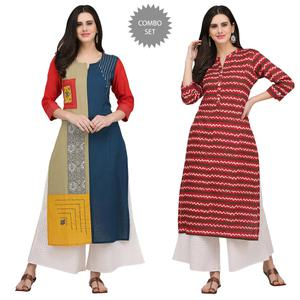 Entrancing Casual Printed Cotton Kurti - Pack of 2