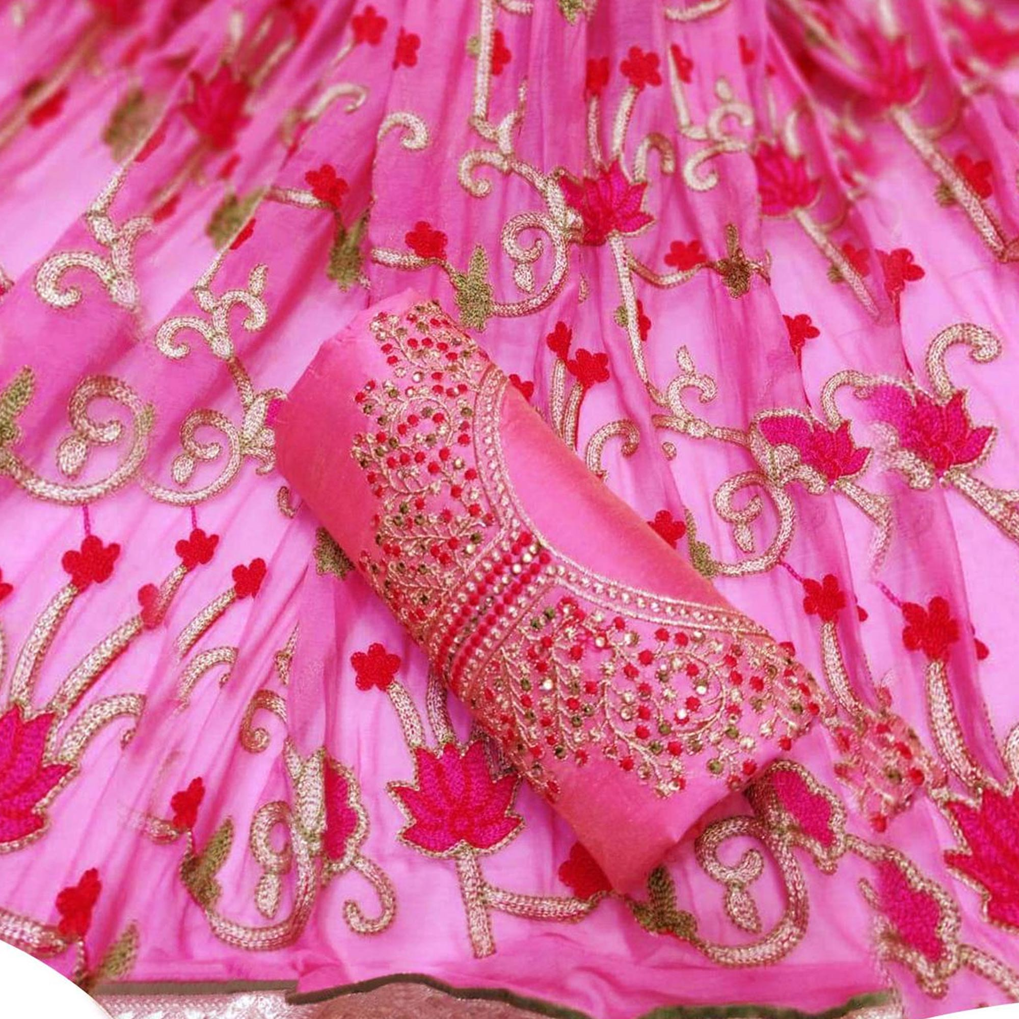Alluring Partywear Embroidered Cotton-Chanderi Silk Dress Material - Pack of 2