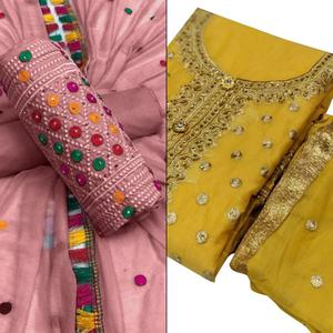 Desirable Partywear Embroidered Cotton-Chanderi Silk Dress Material - Pack of 2