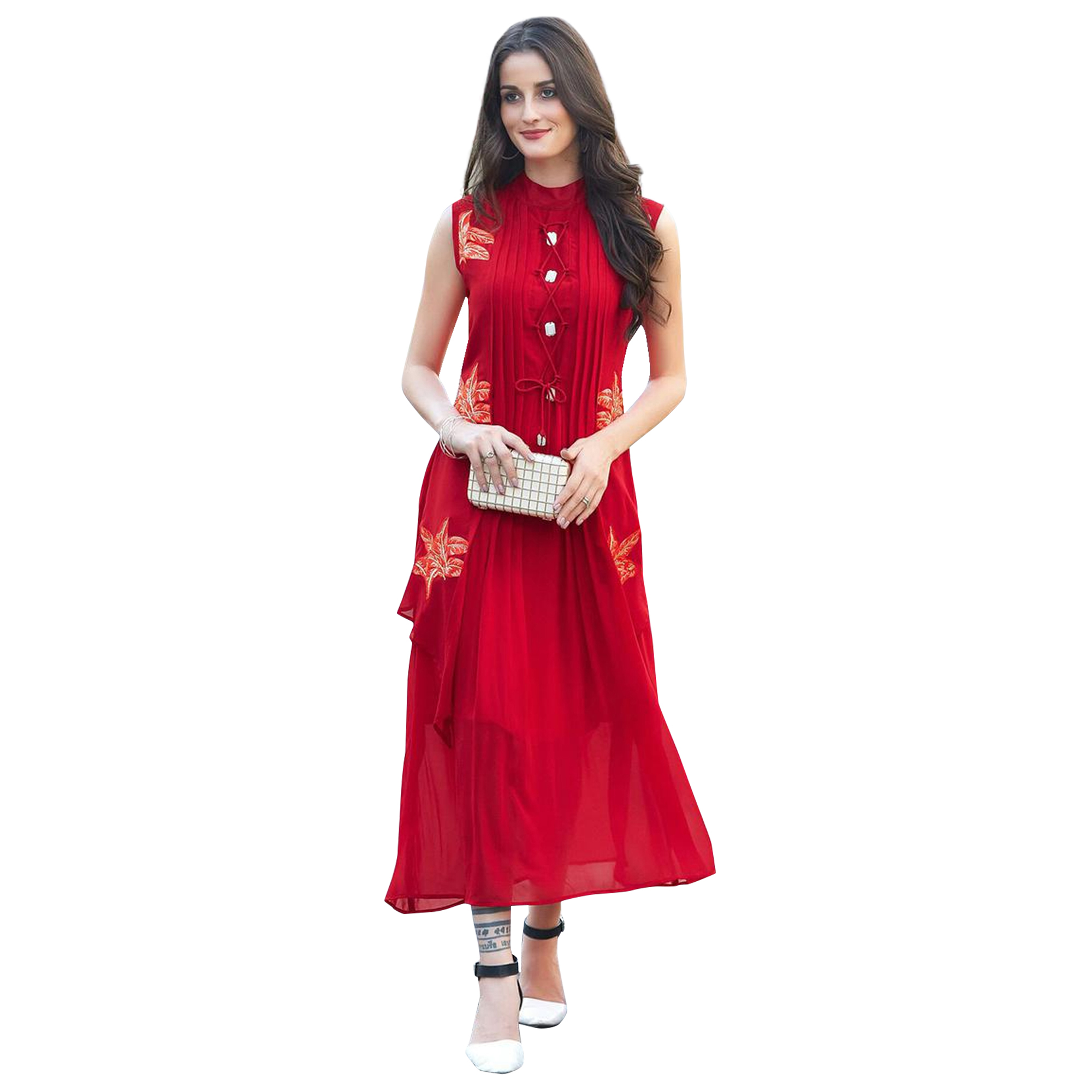 Ethnic Partywear Embroidered Georgette-Rayon Kurti - Pack of 2