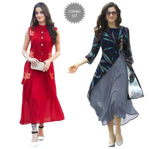 Sensational Partywear Embroidered Georgette-Rayon Kurti - Pack of 2
