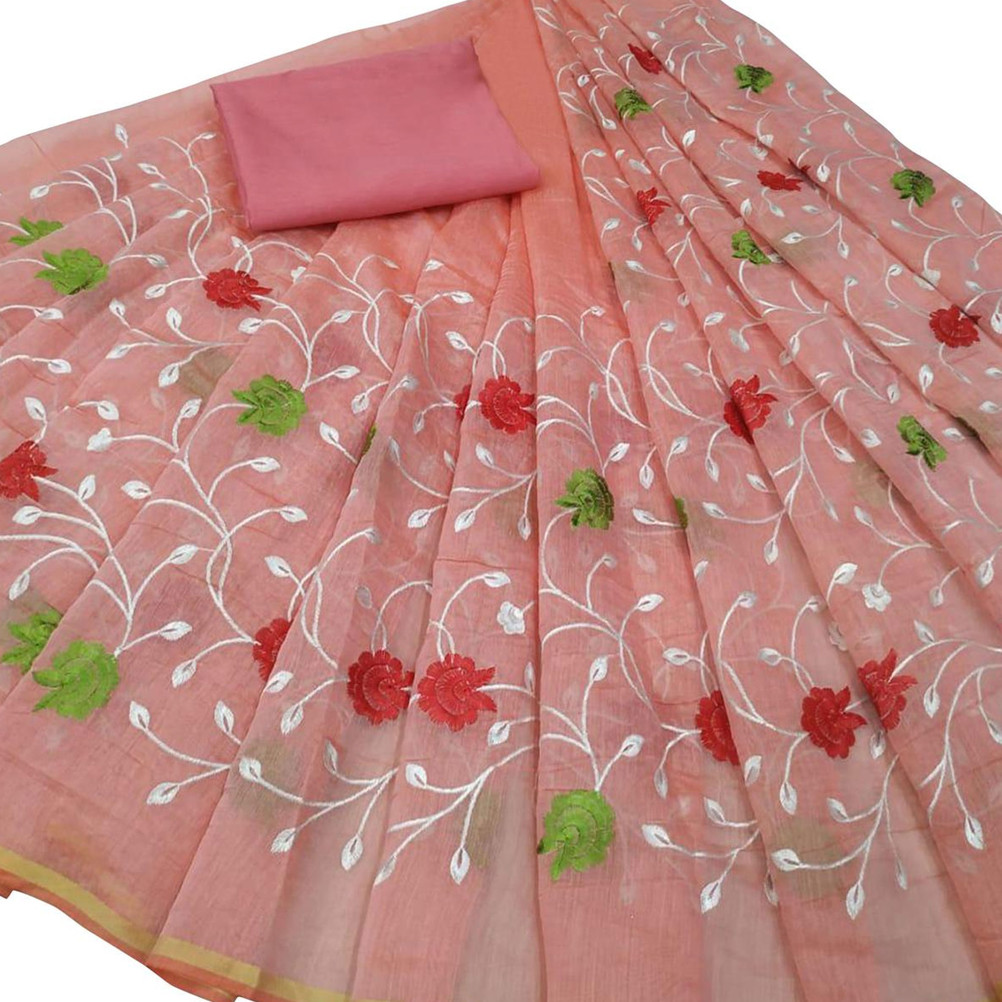 Pretty Partywear Embroidered Vichitra Silk-Modal Saree - Pack of 2