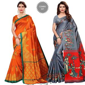 Stunning Casual Printed Art Silk-Khadi Silk Saree - Pack of 2