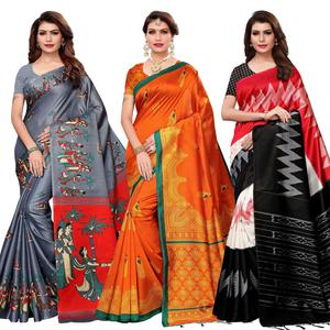 Classy Casual Printed Saree - Pack of 3