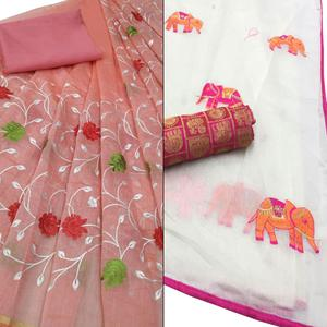 Graceful Partywear Embroidered Modal-Chanderi Silk Saree - Pack of 2