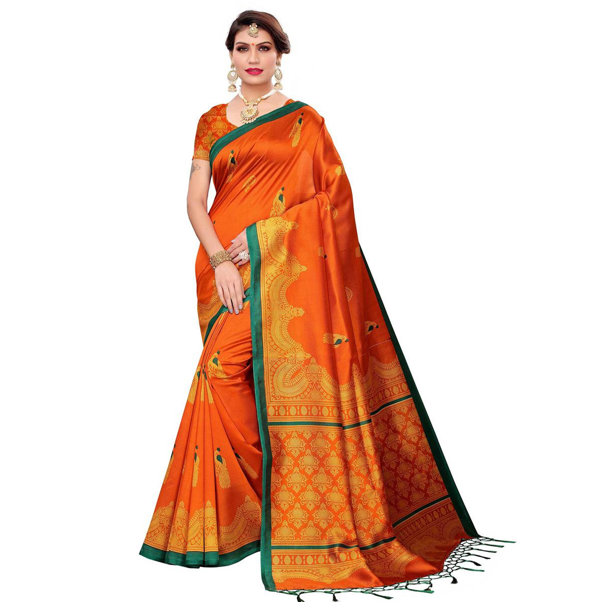 Adorning Casual Printed Khadi Silk-Art Silk Saree - Pack of 2