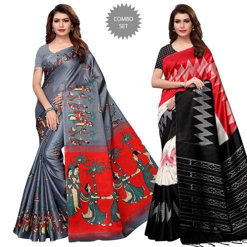 Appealing Casual Printed Khadi Silk-Mysore Silk Saree - Pack of 2