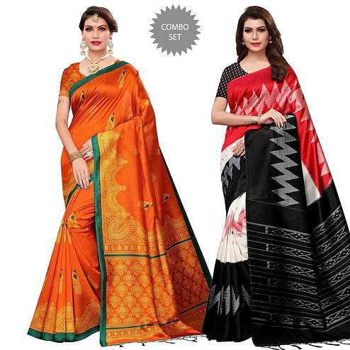 Capricious Casual Printed Art Silk-Mysore Silk Saree - Pack of 2