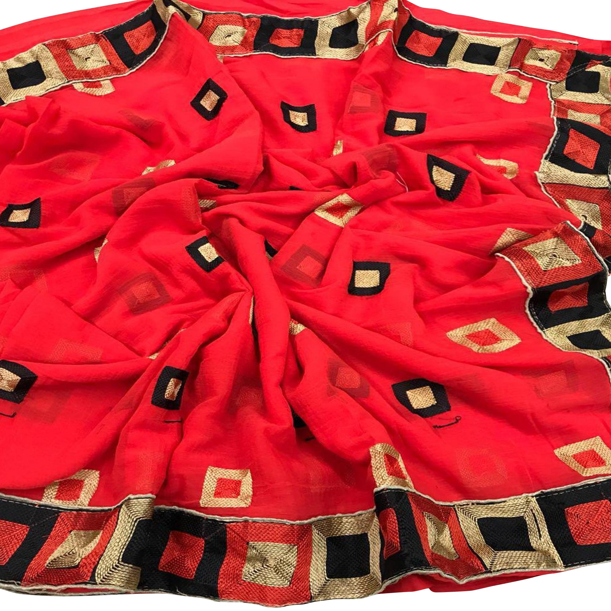 Elegant Partywear Embroidered Chiffon Saree - Pack of 2