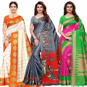 Excellent Festive Wear Printed Mysore Silk-Khadi Silk Saree - Pack of 3