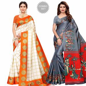Preferable Festive Wear Printed Mysore Silk-Khadi Silk Saree - Pack of 2
