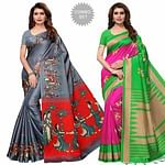 Marvellous Festive Wear Printed Khadi Silk-Mysore Silk Saree - Pack of 2