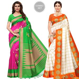 Flamboyant Festive Wear Printed Mysore Silk Saree - Pack of 2