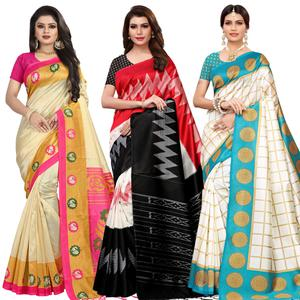 Alluring Festive Wear Printed Mysore Silk Saree - Pack of 3