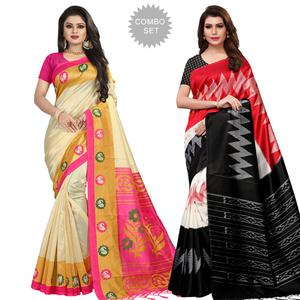 Sensational Festive Wear Printed Mysore Silk Saree - Pack of 2