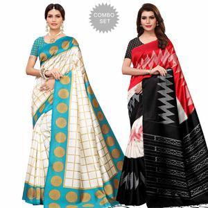 Flaunt Festive Wear Printed Mysore Silk Saree - Pack of 2