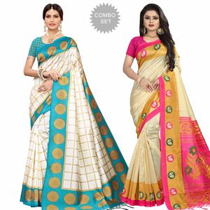 Stunning Festive Wear Printed Mysore Silk Saree - Pack of 2