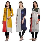 Surpassing Casual Printed Rayon-Cotton Kurti - Pack of 3
