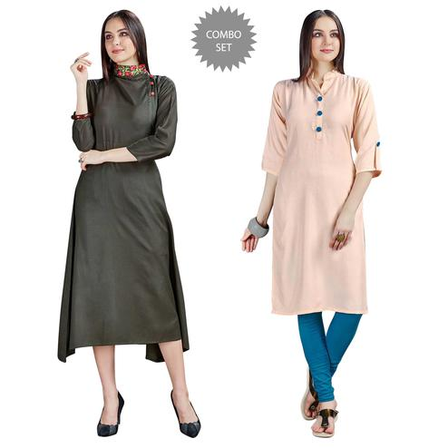 Ravishing Embroidered Rayon Kurti - Pack of 2