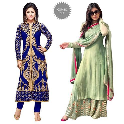 Intricate Partywear Embroidered Georgette Suit - Pack of 2