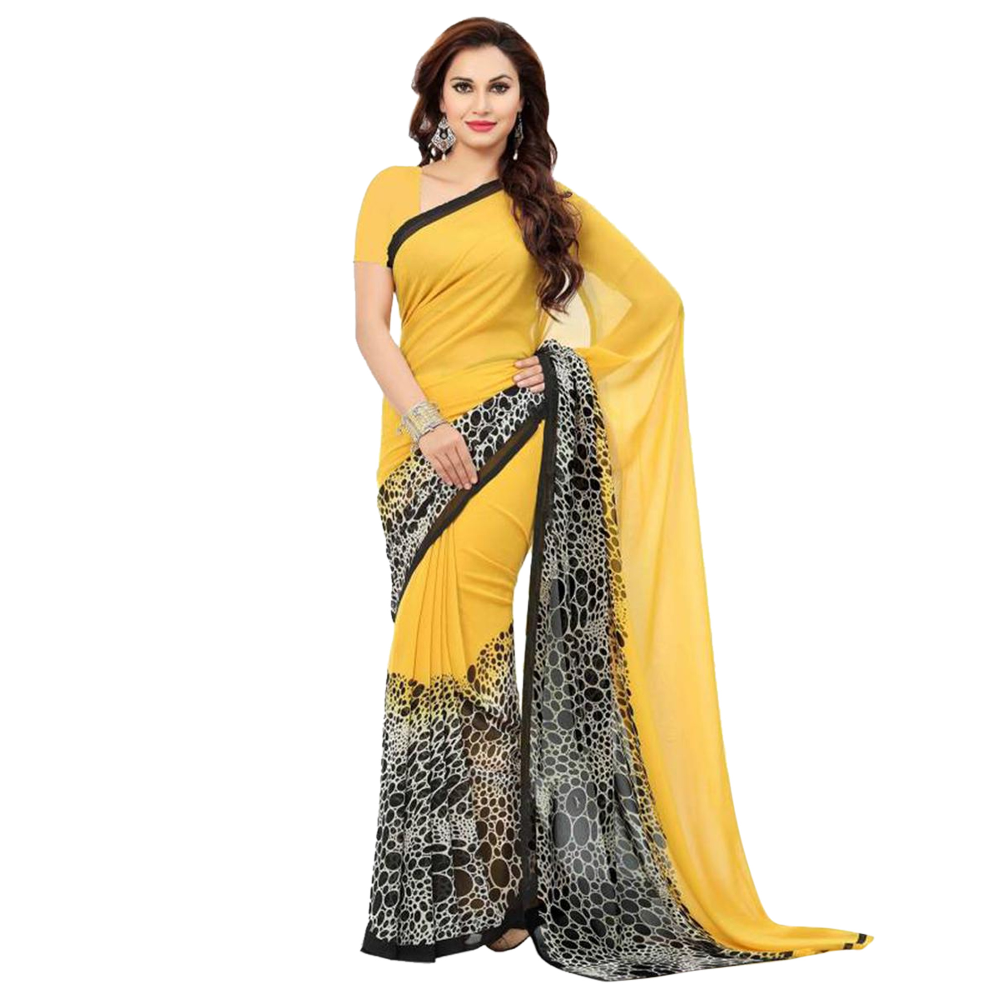 Desirable Casual Printed Georgette Saree - Pack of 5