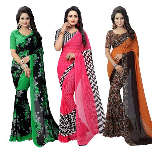 Trendy Casual Printed Georgette Saree - Pack of 3