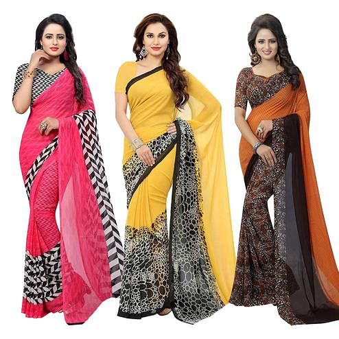 Elegant Casual Printed Georgette Saree - Pack of 3