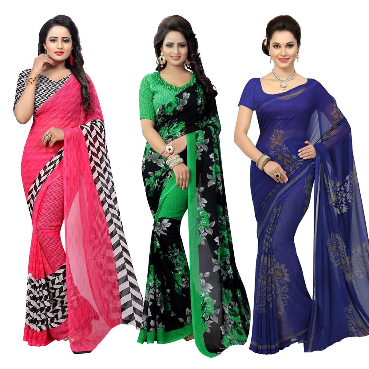 Radiant Casual Printed Georgette Saree - Pack of 3