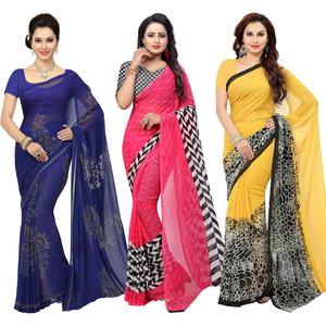 Pleasant Casual Printed Georgette Saree - Pack of 3