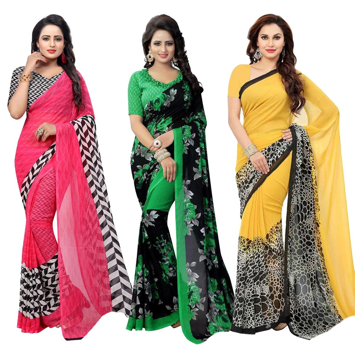 Opulent Casual Printed Georgette Saree - Pack of 3