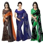 Energetic Casual Printed Georgette Saree - Pack of 3