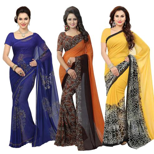 Glowing Casual Printed Georgette Saree - Pack of 3