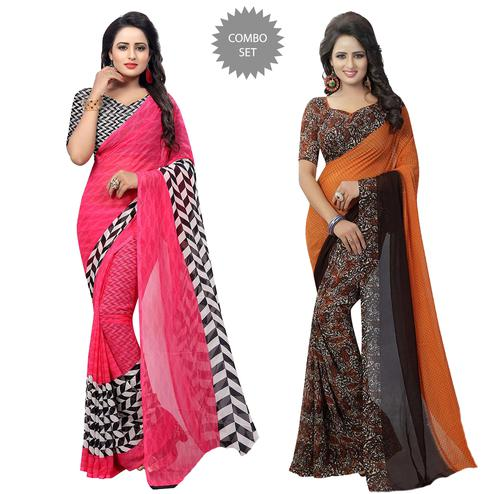 Arresting Casual Printed Georgette Saree - Pack of 2