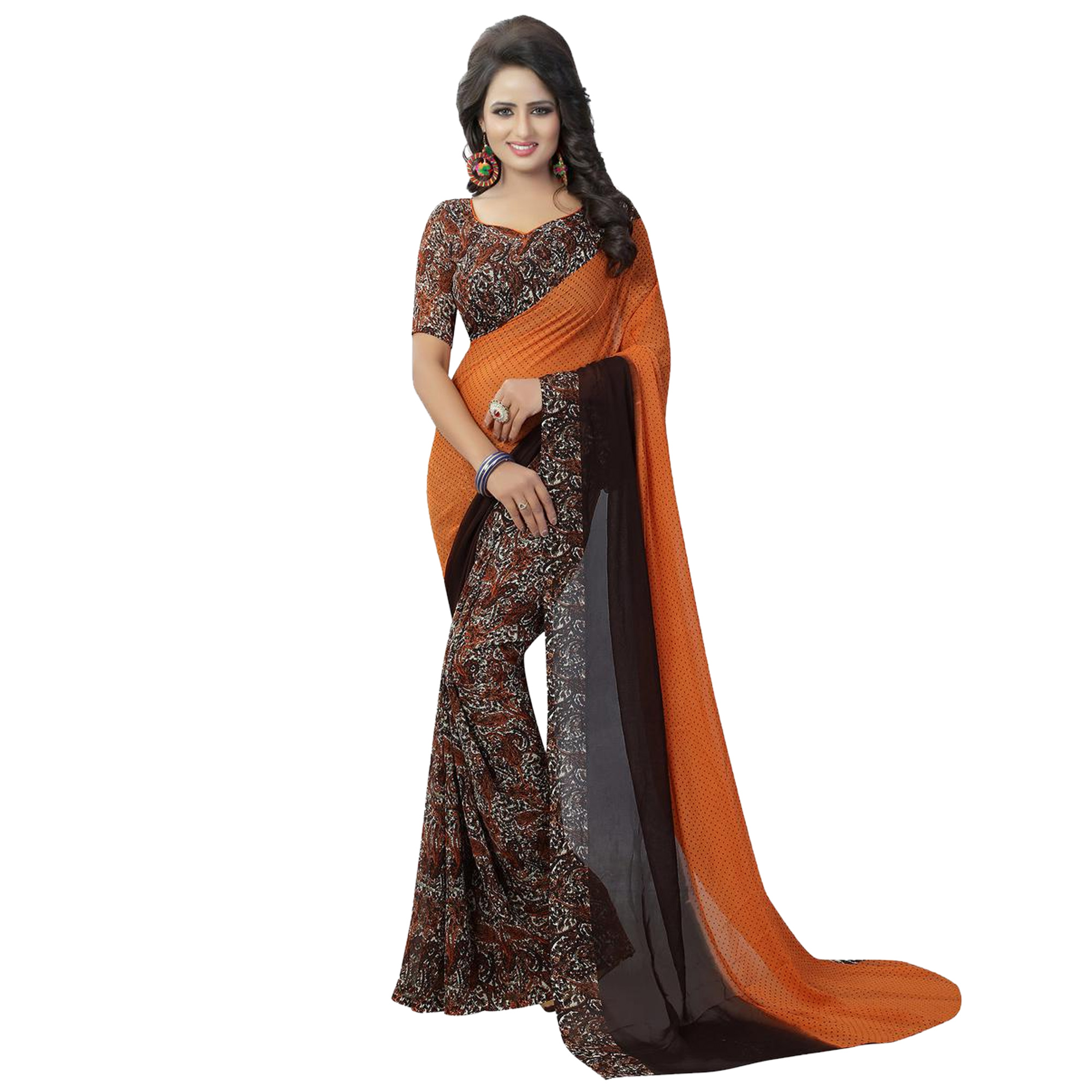 Exotic Casual Printed Georgette Saree - Pack of 2