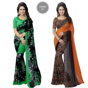 Unique Casual Printed Georgette Saree - Pack of 2