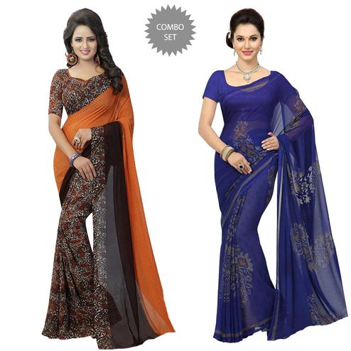 Demanding Casual Printed Georgette Saree - Pack of 2