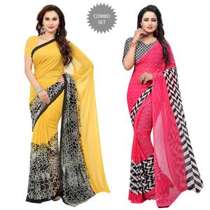 Refreshing Casual Printed Georgette Saree - Pack of 2