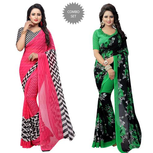 Magnetic Casual Printed Georgette Saree - Pack of 2