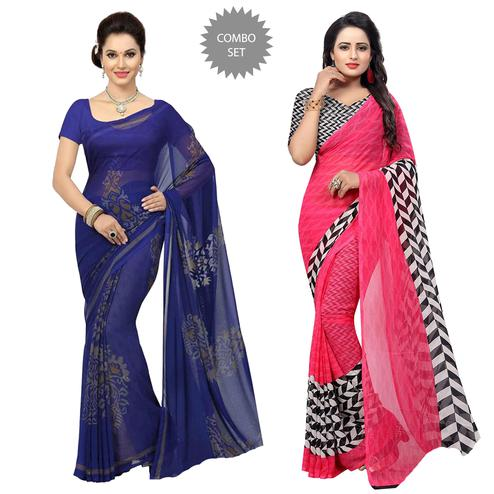 Hypnotic Casual Printed Georgette Saree - Pack of 2