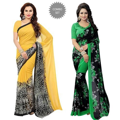 Flattering Casual Printed Georgette Saree - Pack of 2