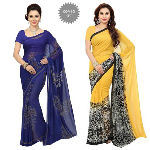 Excellent Casual Printed Georgette Saree - Pack of 2