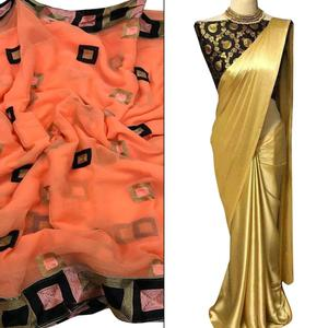 Glorious Partywear Embroidered Chiffon-Satin Silk Saree - Pack of 2