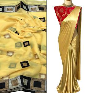Attractive Partywear Embroidered Chiffon-Satin Silk Saree - Pack of 2