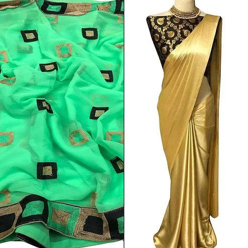 Beautiful Partywear Embroidered Chiffon-Satin Silk Saree - Pack of 2