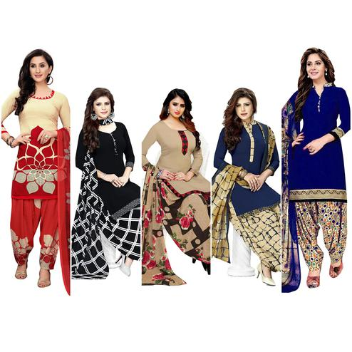 Jazzy Casual Printed Crepe Dress Material - Pack of 5