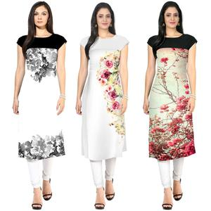 Beautiful Casual Printed Crepe Kurti - Pack of 3 With Leggings