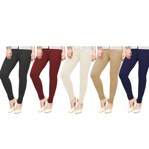 Blooming Casual Wear Ankle Length Cotton Leggings - Pack of 5