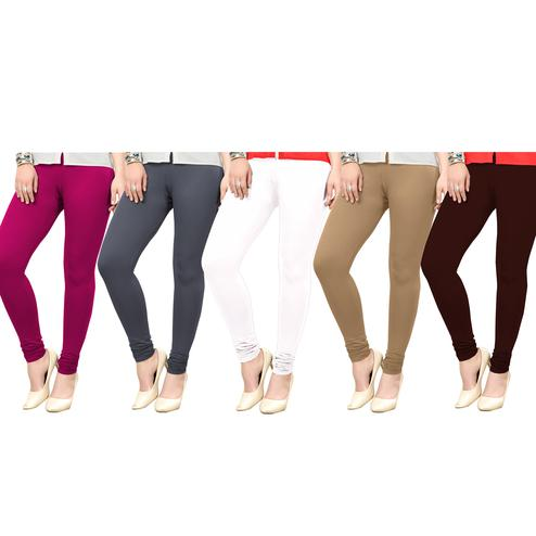Charming Casual Wear Ankle Length Cotton Leggings - Pack of 5