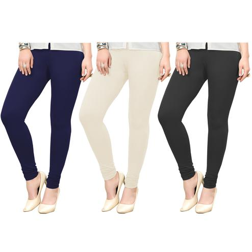 Delightful Casual Wear Ankle Length Cotton Leggings - Pack of 3